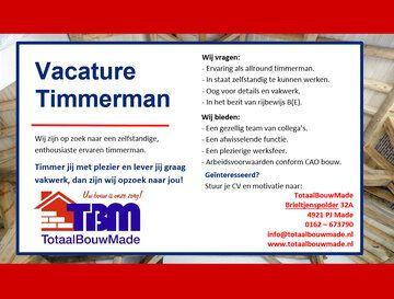Vacature Timmerman - Vacature Timmerman
